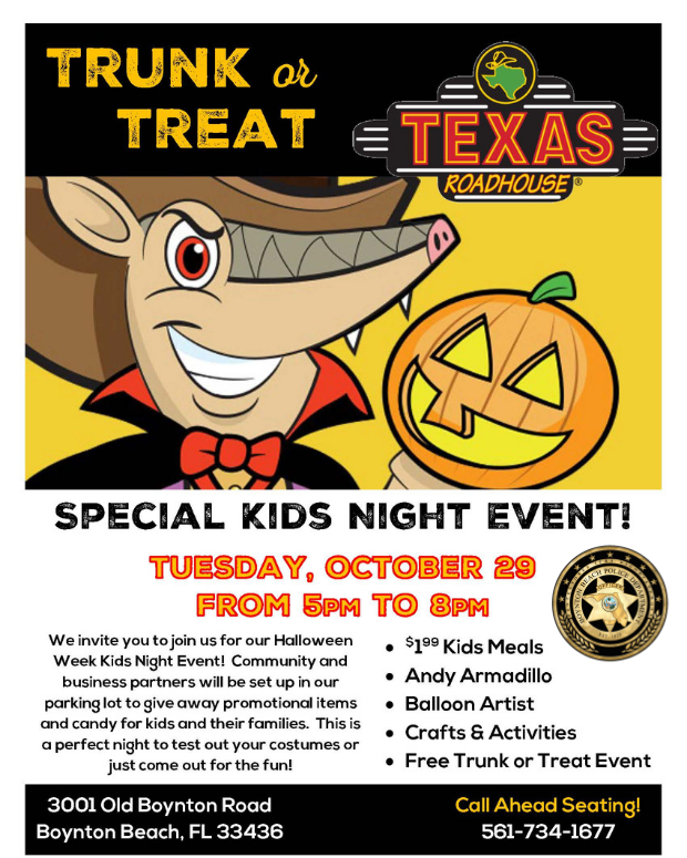 Trunk or Treat Texas Roadhouse flyer