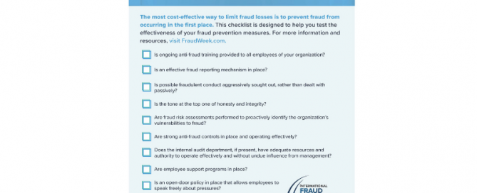 Checklist of ways to prevent fraud