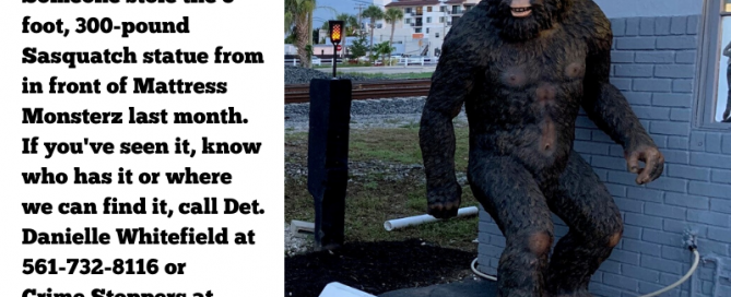 Bigfoot statute in front of store
