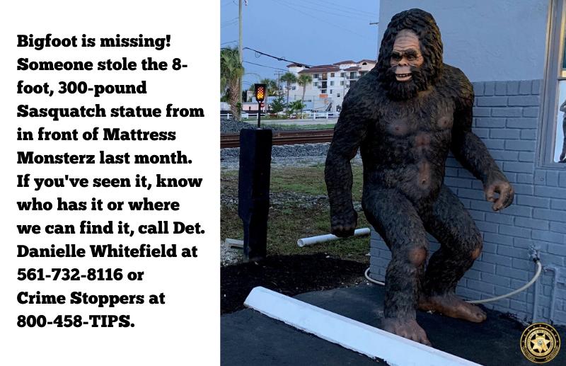 Bigfoot statute in front of store