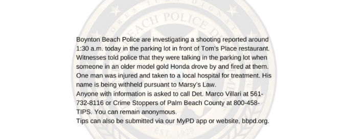 Information about a shooting in parking lot outside of Tom's Place restaurant