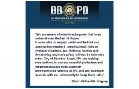 Statement from police chief about respecting peaceful protests but not tolerating violence or looting