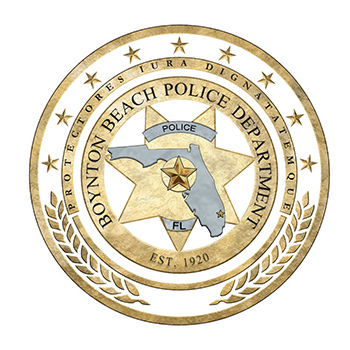 Boynton Beach Police Department gold circle with 5 point star and state of florida shape
