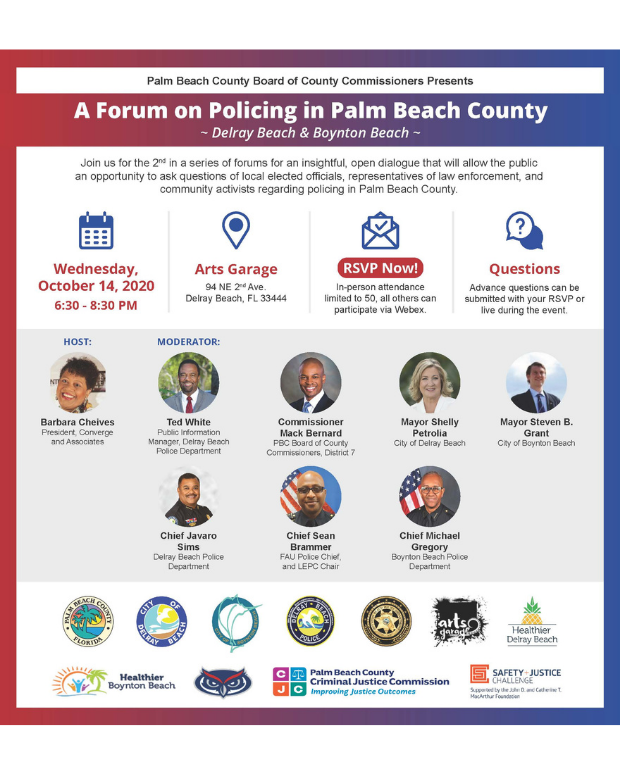 Announcement of forum on policing in palm beach county with photographs of all the panelists to include BBPD chief Michael Gregory