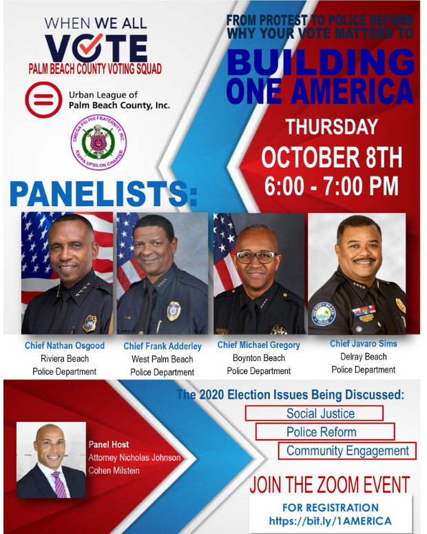 Flyer announcing a Zoom event on Oct 8 2020 at 6pm. Chief Gregory participating in the event.