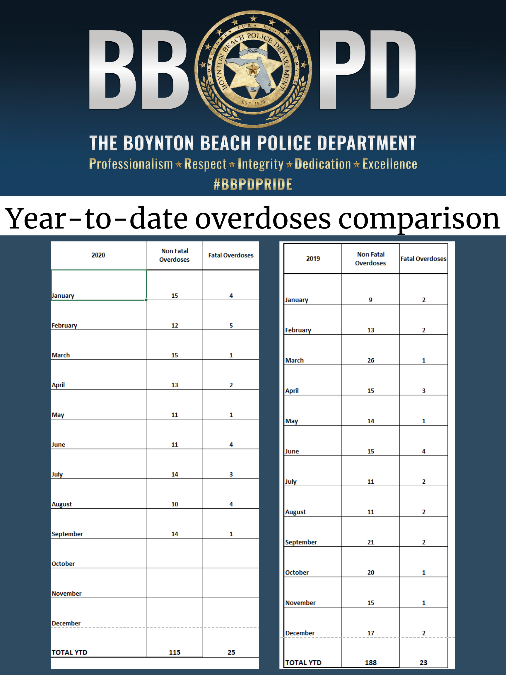 Excel spreadsheet that provides number of non-fatal and fatal overdoses for each month of 2019 and 2020