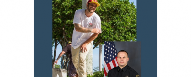 Man on a skateboard; police officer