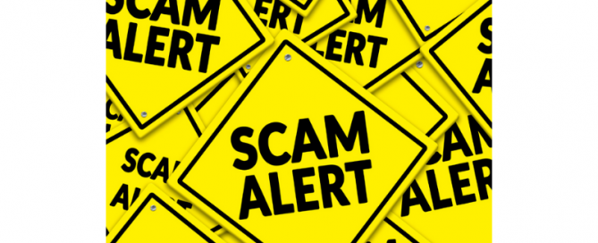 yellow signs that say Scam Alert