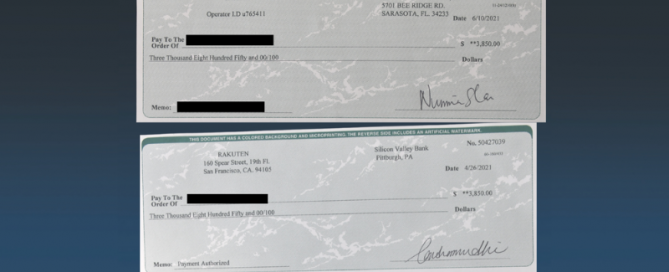 Announcement of fraudulent checks being circulated in area with image of two fake checks