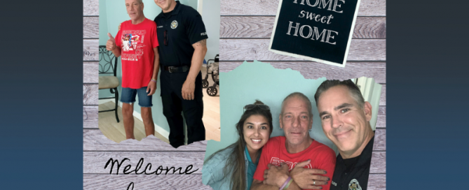 police officer with man and police officer with woman and man with sign that says home sweet home