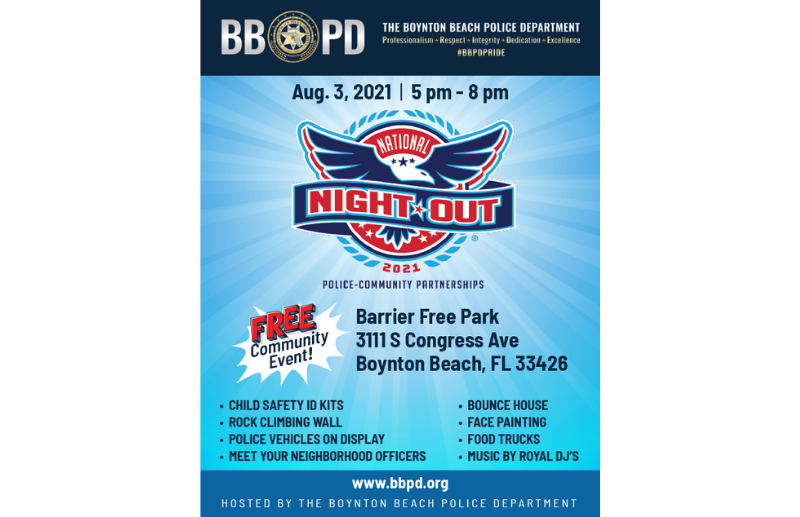 Announcement of National Night Out Event on Aug 3 from 5-8pm at Barrier Free Park