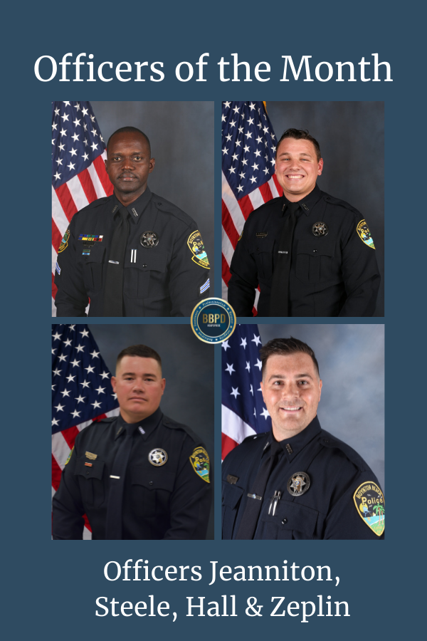 Announcement of officer of the month with photos of officers jeanniton, hall, steele and zeplin