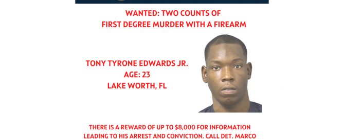 flyer announcing Tony Edwards Jr wanted for two counts of murder and reward of $12,000 being offered.