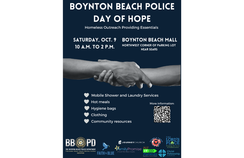 Announcement of homeless outreach event on October 9 from 10 to 2 at Boynton Beach Mall parking lot northwest corner near old Sears. Hot meals, clothing, resources, mobile laundry and shower services. Free event.