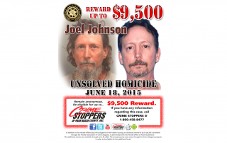 Two photos of Joel Johnson with phone number to crime stoppers of palm beach county and announcement of $9,500 reward for information about his murder on June 18, 2015.