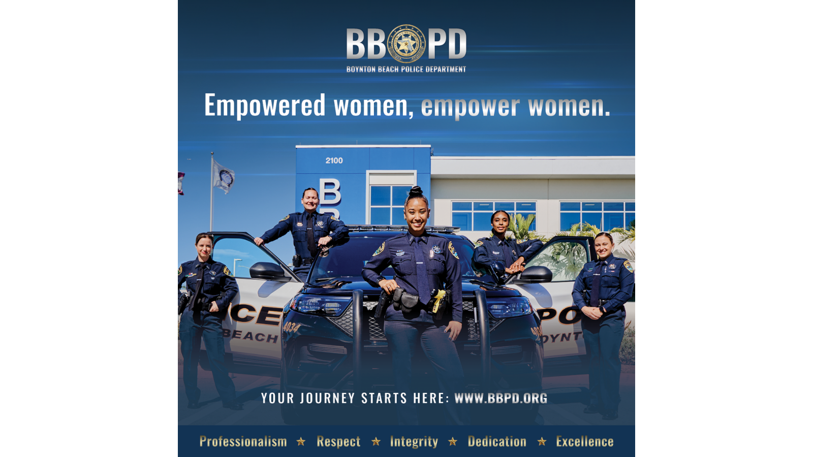 5 female police officers standing next to police car in front of police department