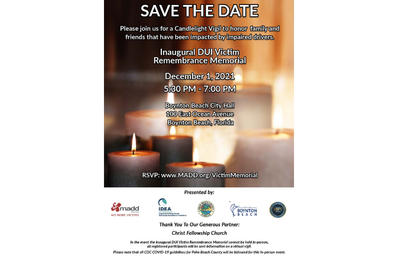 Announcement of candlelight vigil to remember victims of traffic fatalities caused by impaired drivers